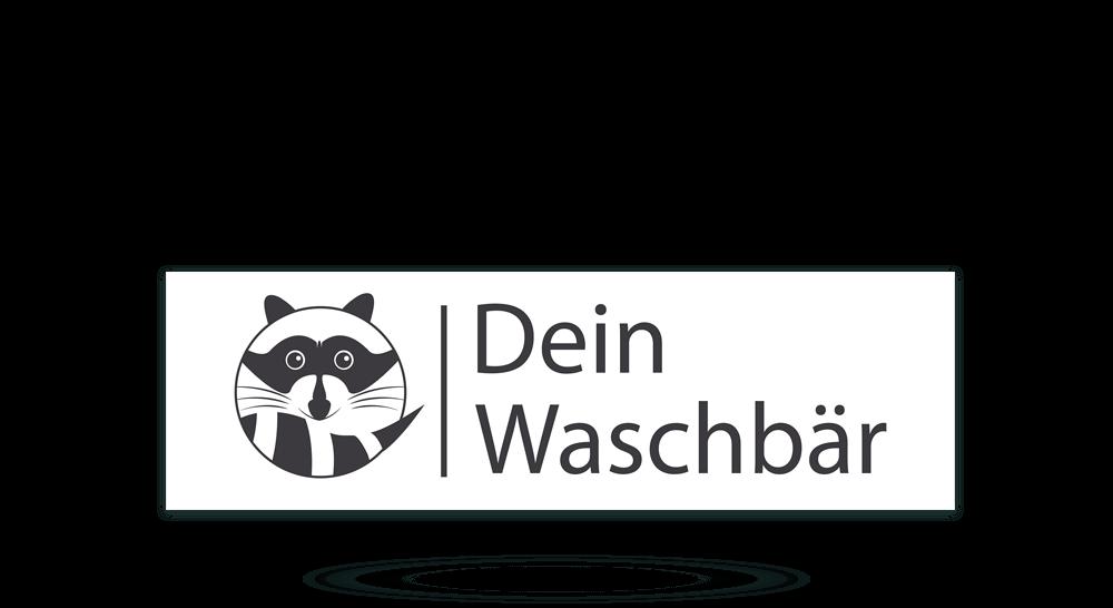 Firmenschild aus Aluverbund - Dein Waschbär Mülltonnenreinigung