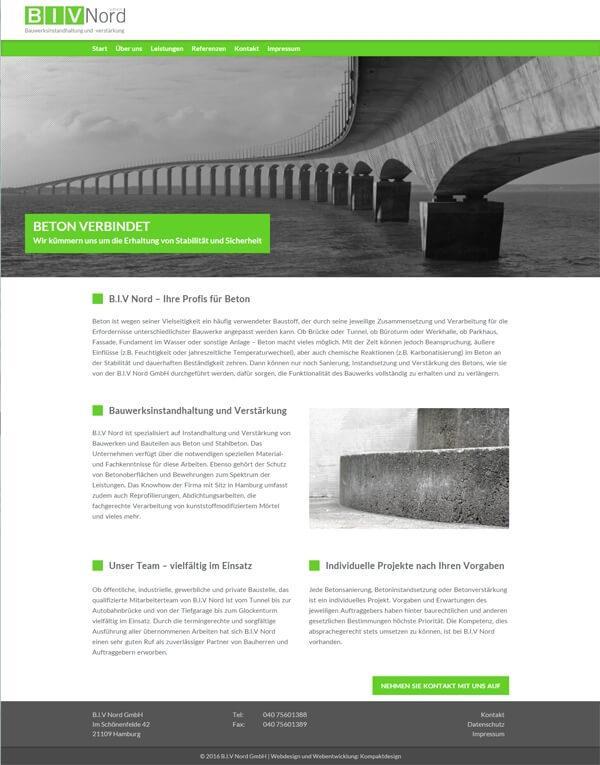 Startseite der Firmen-Website