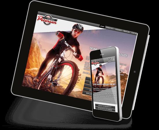 Mobil optimiertes Webdesign auf Tablet und Smartphone