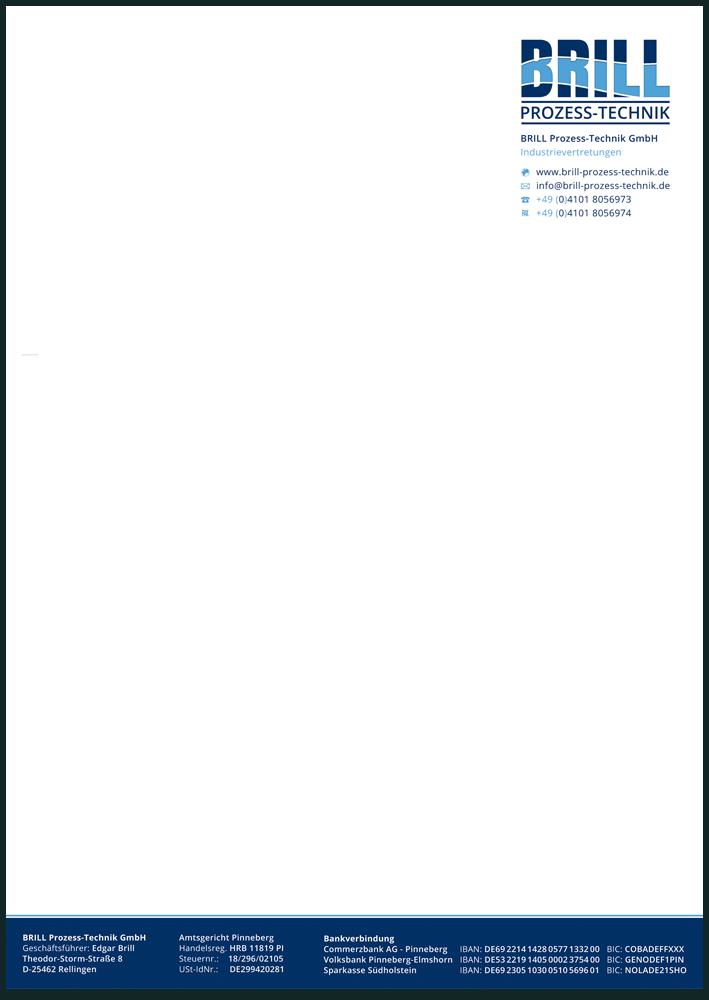 Geschäftspapier der Industrievertretung, Vorderseite in Farbe, Rückseitig mit AGB bedruckt