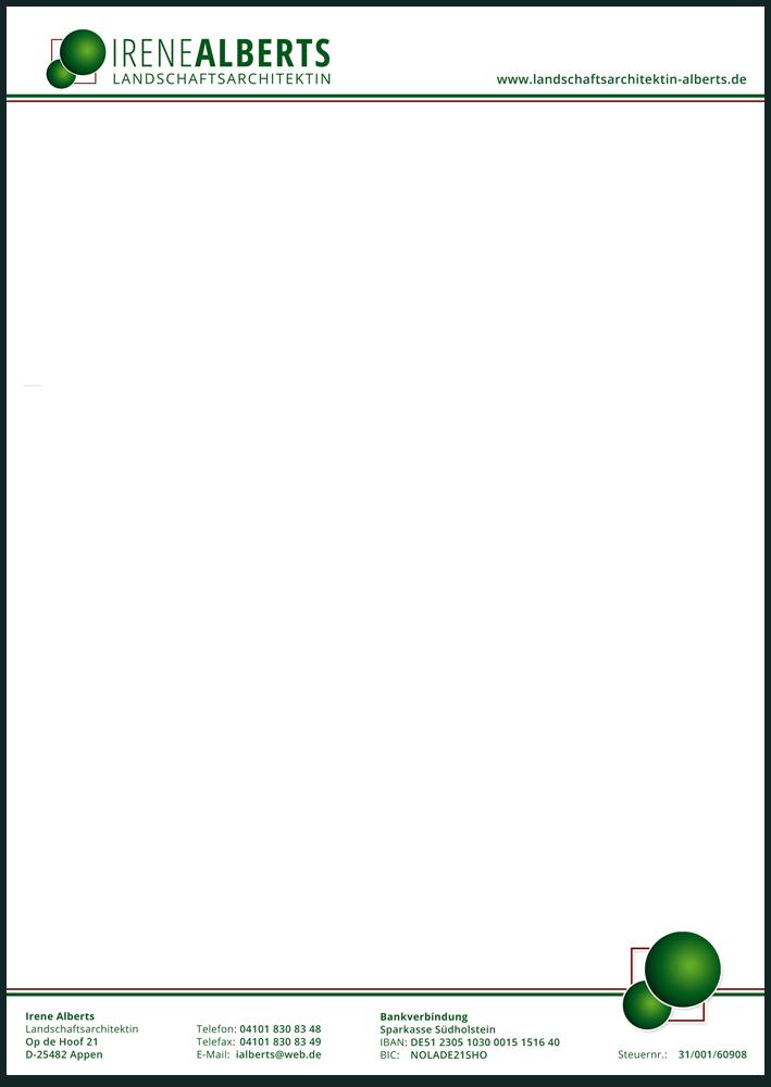 Briefpapier der Landschaftsarchitektin in DIN A4, einseitig bedruckt