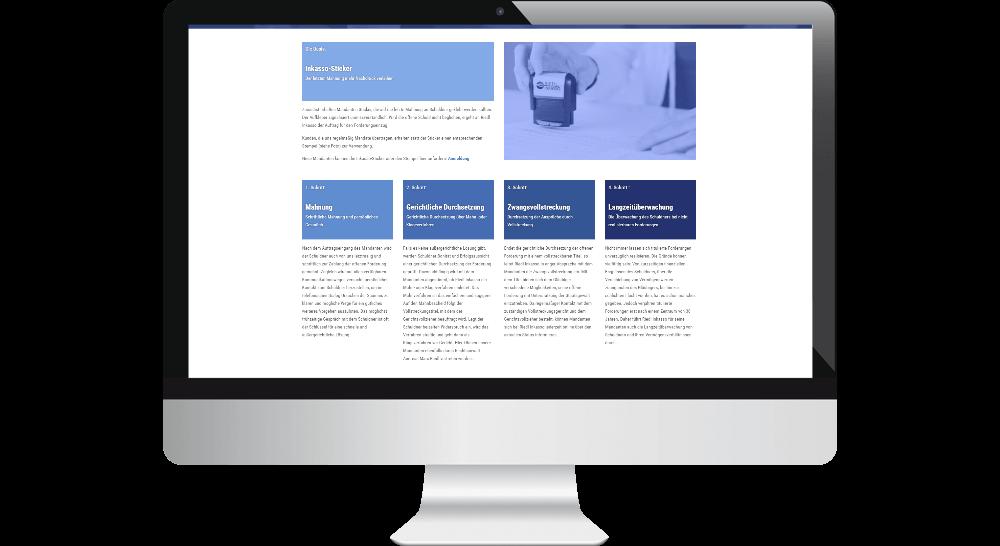 Desktop-Ansicht Inkasso-Homepage