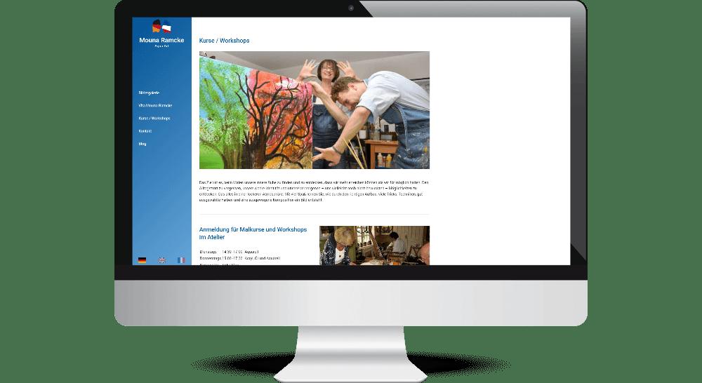 Website auf Desktop-PC mit Informationen zu Mal-Kursen
