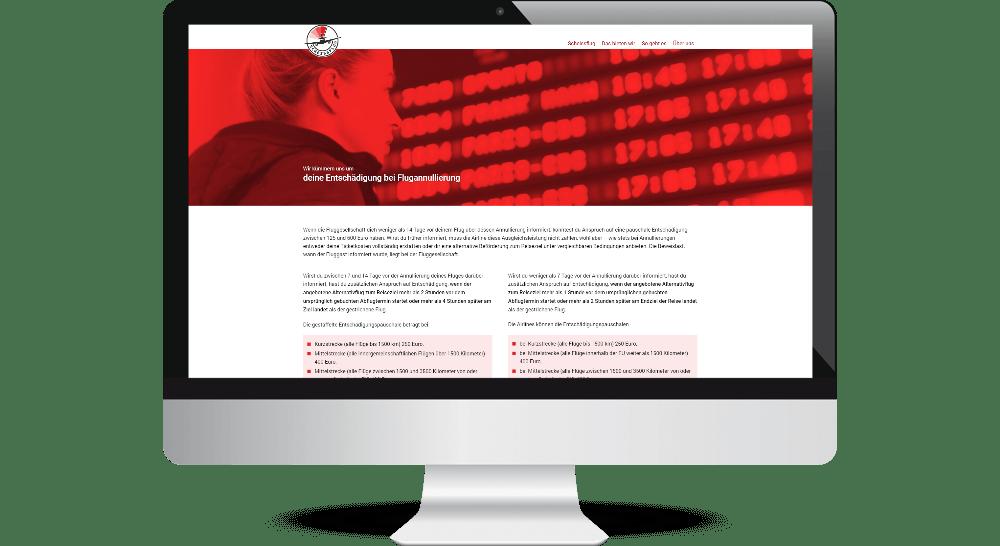 Desktop- Webdesign mit umfangreichen Informationsangebot zu Fluggastrechten.