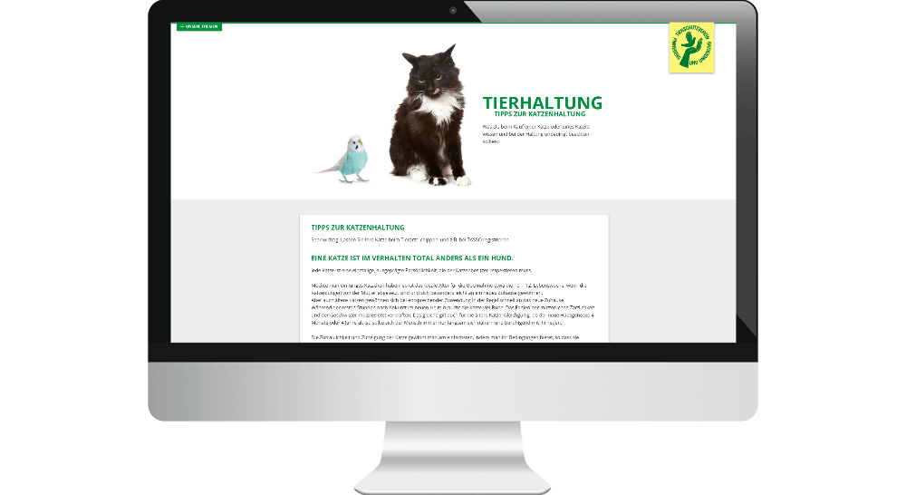 Tierschutz-Webdesign im Desktop-Bereich