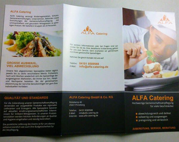 Druckerzeugnis Catering-Flyer - Außenseite