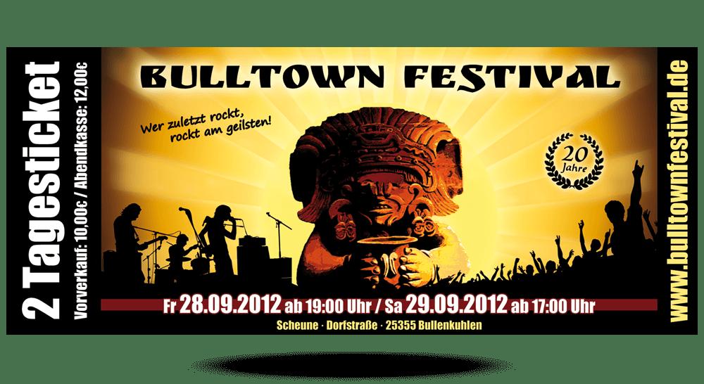 Eintrittskarte Bulltown Festival 2012 - Vorderseite
