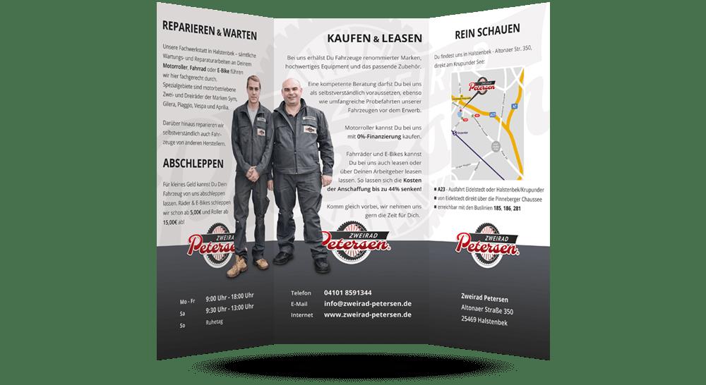Faltblatt mit KFZ-Firmenpräsentation und Anfahrtsskizze