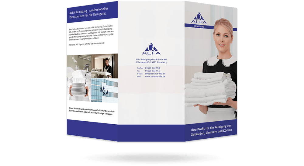 Faltflyer Reinigungs-Firma mit 6 Seiten - Außenseite