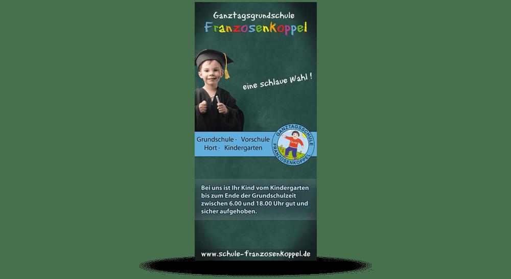 Flyer Grundschule Franzosenkoppel mit Zickzack-Falz