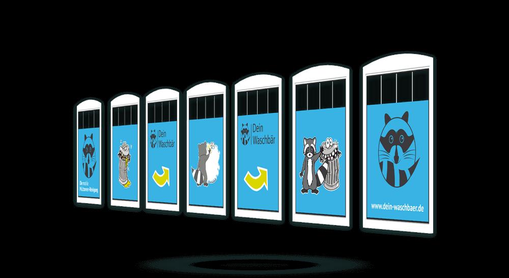 Transluzente Folien mit Werbedruck für Mülltonnenreinigung