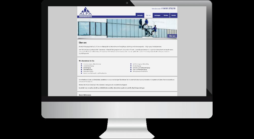 Homepage mit Referenzen von Reinigungs-Firma