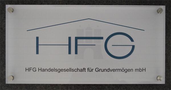 Werbetechnik - Schild Acrylglas HFG Hamburg
