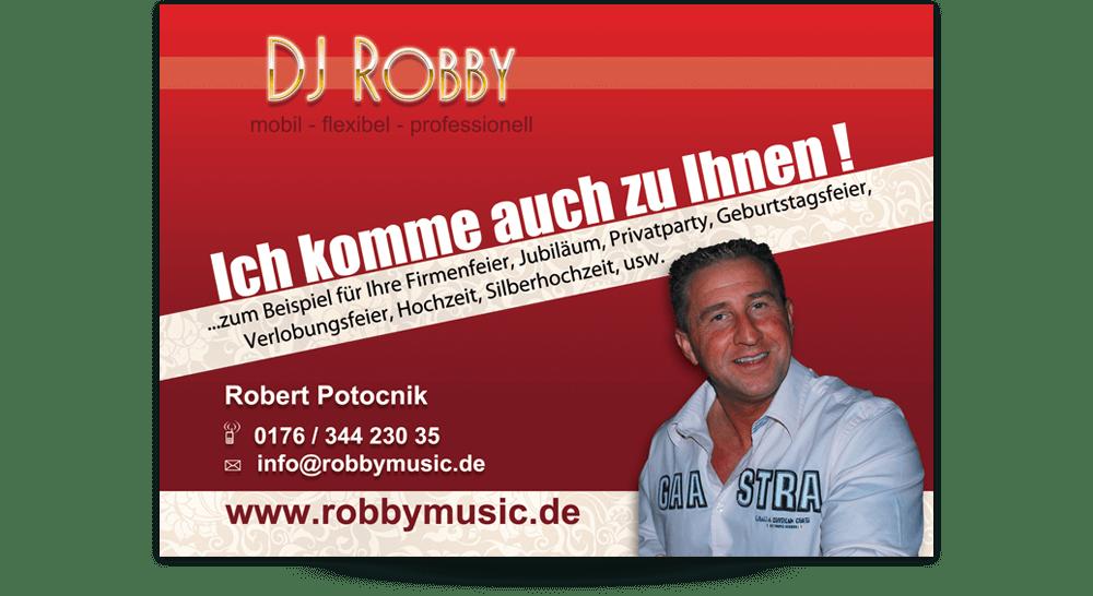 Flyer DIN A6 DJ Robby - Vorderseite