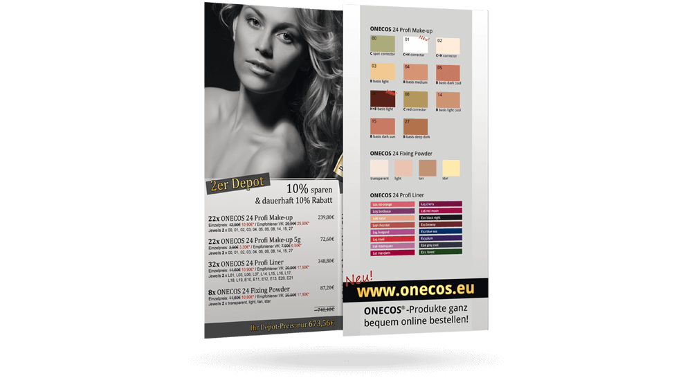 Beauty-Flyer aufgeklappt - Makeup-Farben