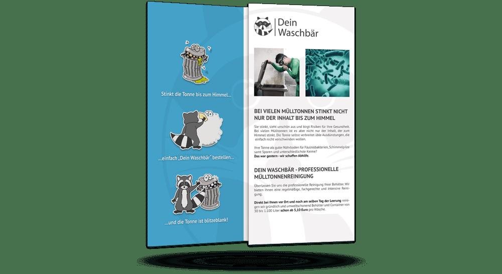 Faltflyer zum Werben für Mülltonnenreinigung