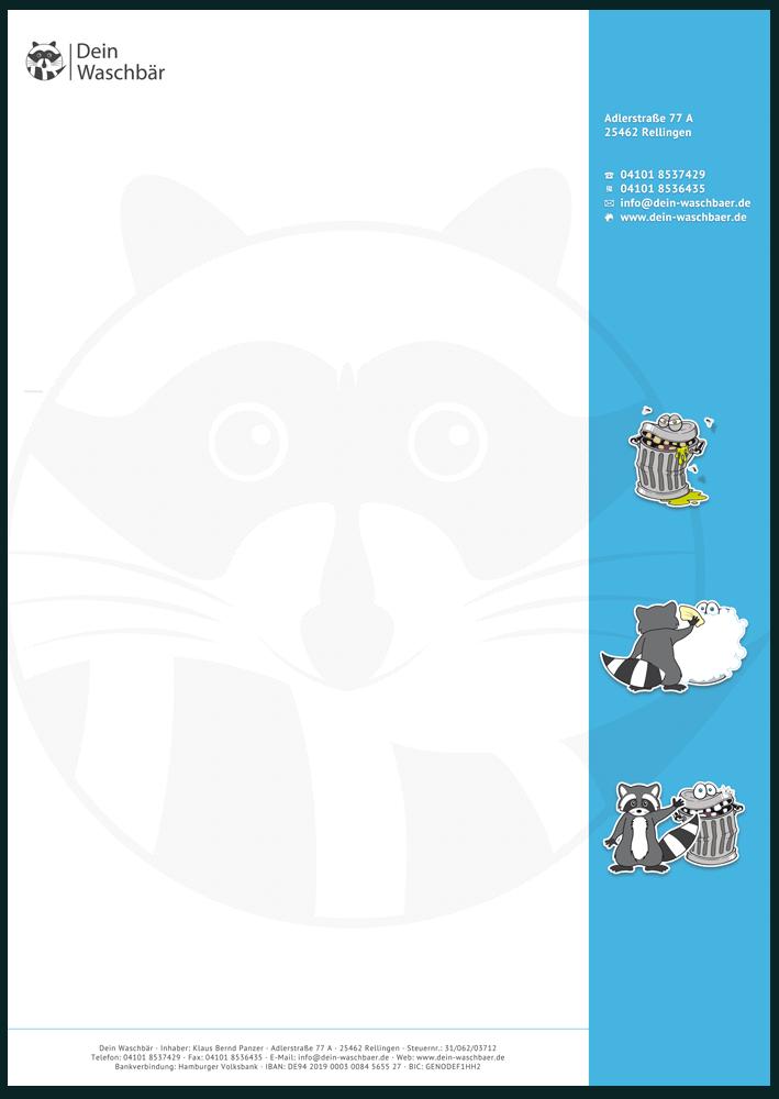 Briefpapier-Druckvorlage mit Seitenstreifen und grafischem Wasserzeichen