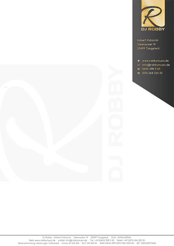 Professionelles Rechnungspapier für Disc Jockey