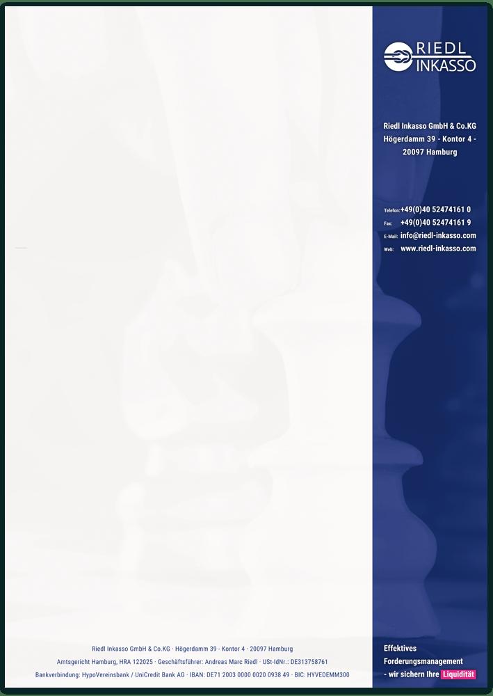 Briefpapier des Inkasso-Unternehmens