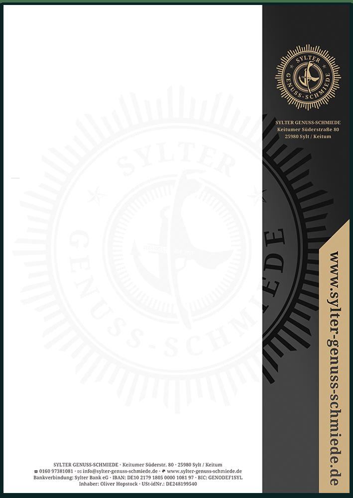 Druckvorlage für das Briefpapier mit 5/0 Druck