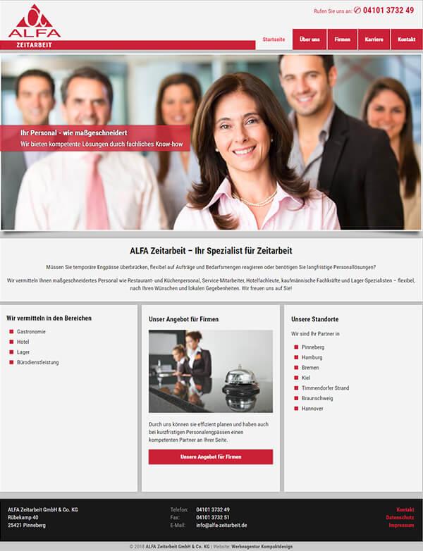 Homepage der Zeitarbeit-Firma aus Pinneberg