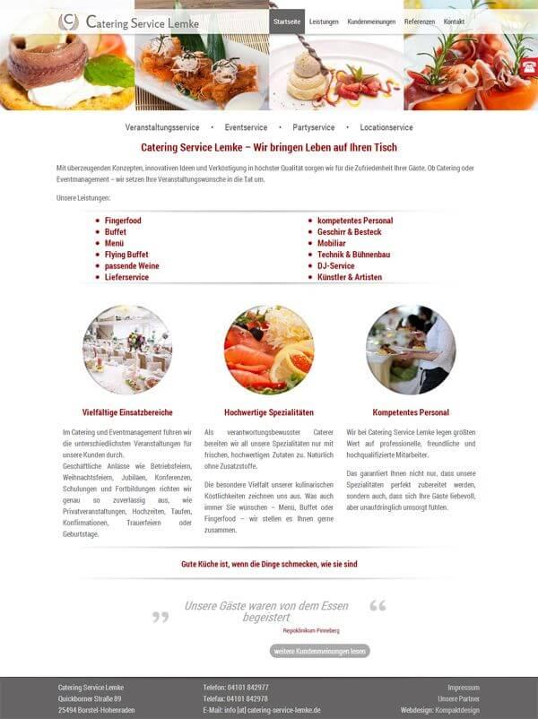 Homepage des Catering Service aus Hamburg