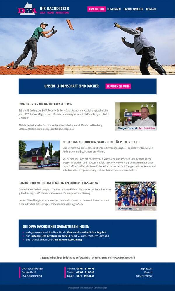 Homepage der Dachdecker-Firma aus Kummerfeld