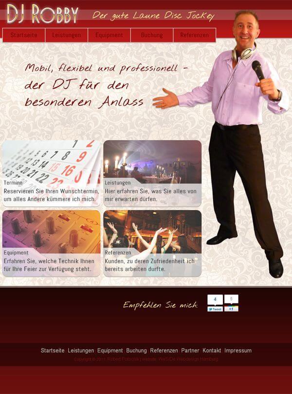 Webdesign - Homepage DJ Robby - Entertainer