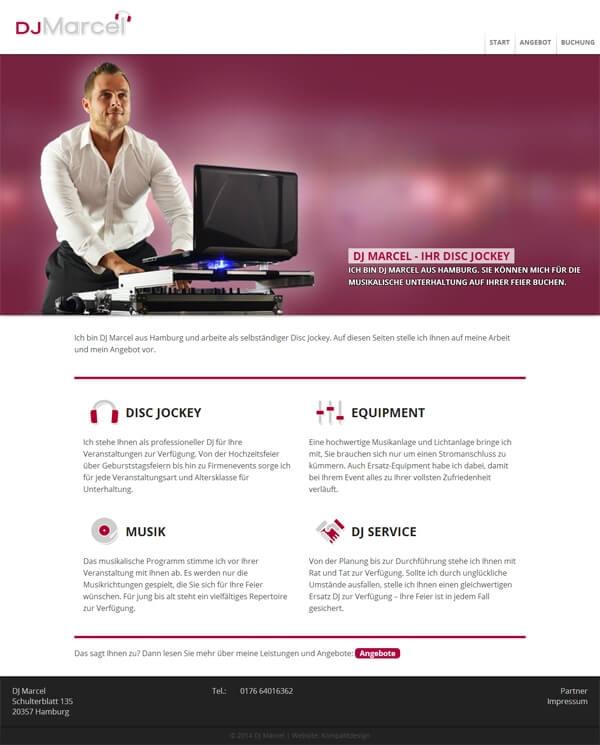 Kompaktpage - angepasst für DJ Marcel
