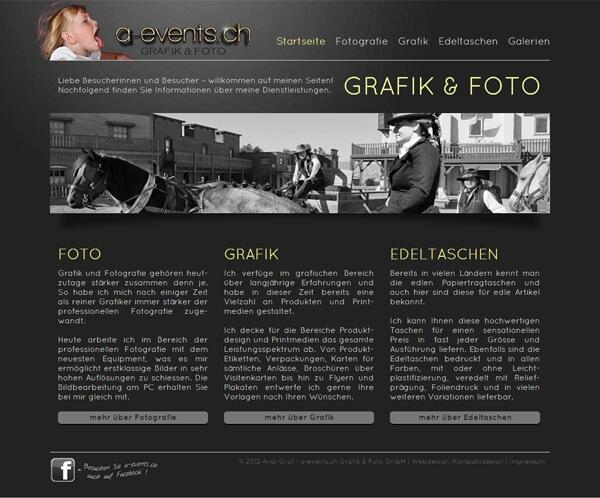 Homepage a-events.ch Grafik und Foto GmbH