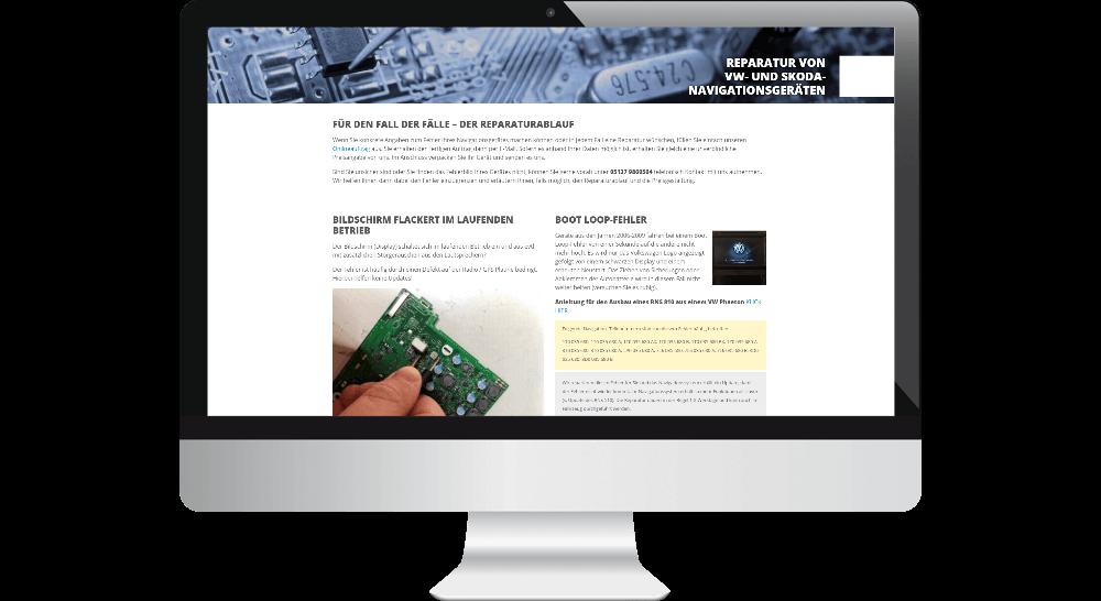 Service-Seite mit Aufführung typischer Gerätefehler