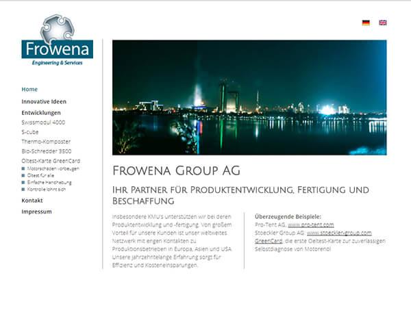 Die Startseite der Frowena Group AG (Desktop-Ansicht)
