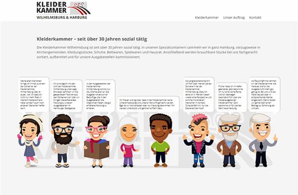 Soziale Website mit Figuren im Comic-Stil
