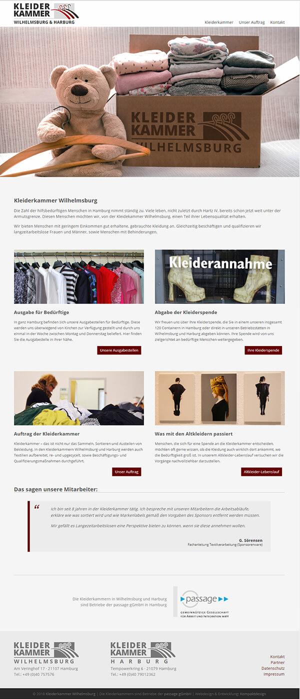 Homepage der Kleiderkammer in Hamburg
