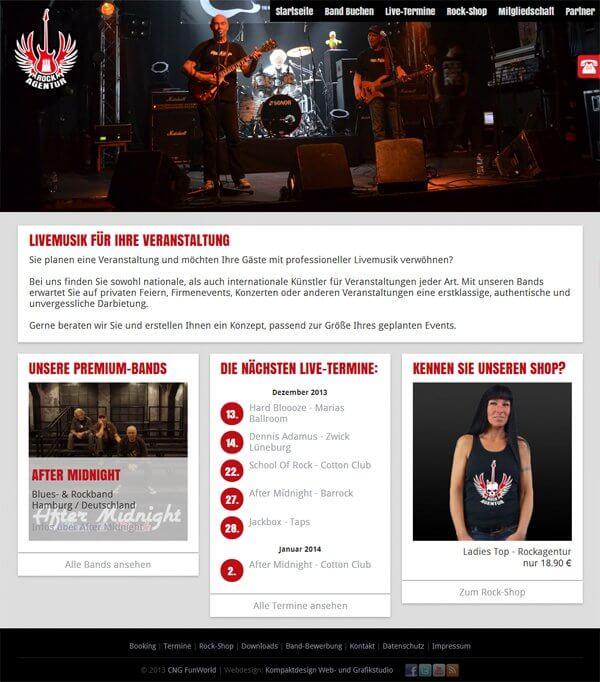 Homepage Rockagentur Hamburg - Künstlervermittlung