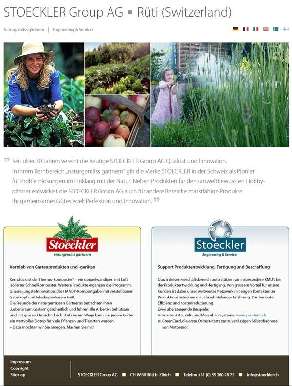 Website der STOECKLER Group AG Schweiz - merhsprachig