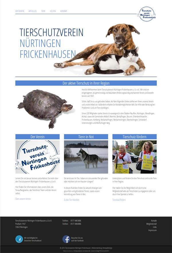 Startseite der Homepage vom Nürtinger Tierschutzverein