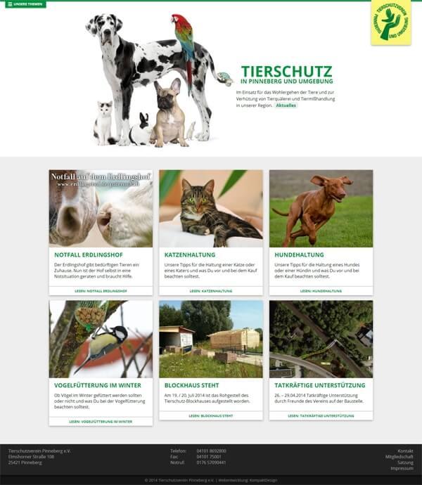 Startseite der Tierschutz-Homepage