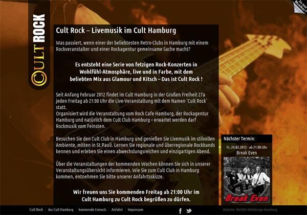 Webdesign für Veranstaltung CultRock in Hamburg - Basis WordPress