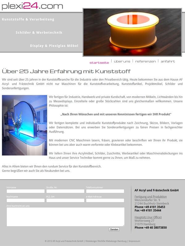 Homepage Plexi24.com - Acrylglas-Verarbeitung