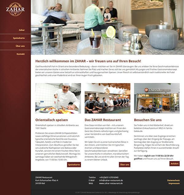 Restaurant-Website mit orientalischen Ornamenten