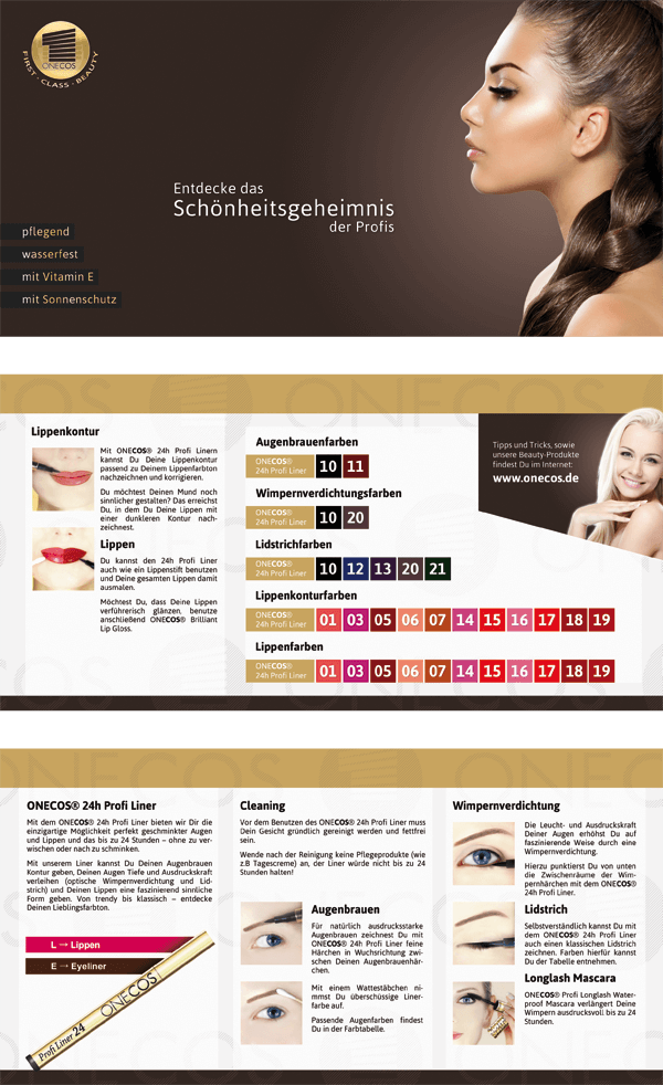 Faltflyer mit Kosmetik-Anwendungsinformationen