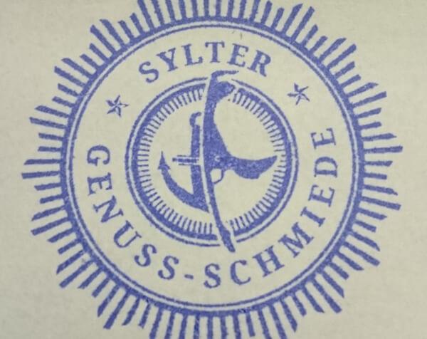 Stempel mit Logo in Blau