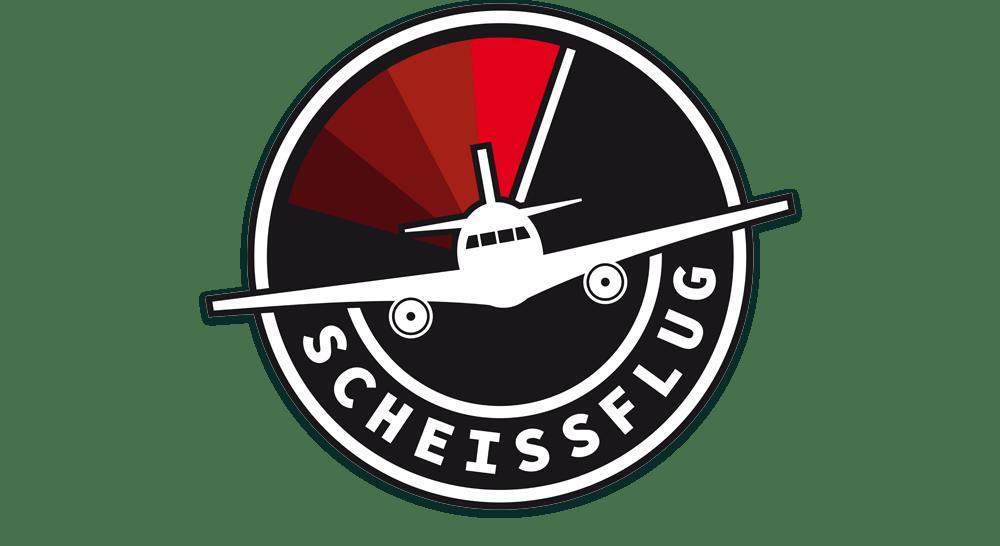 Scheissflug-Logo schwarz auf weiß