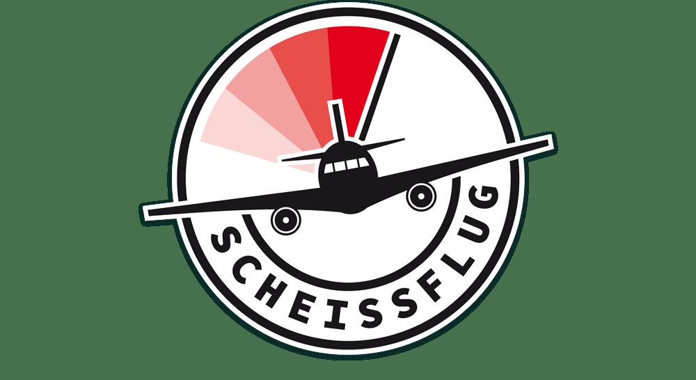 Logodesign Scheissflug weiß auf schwarz