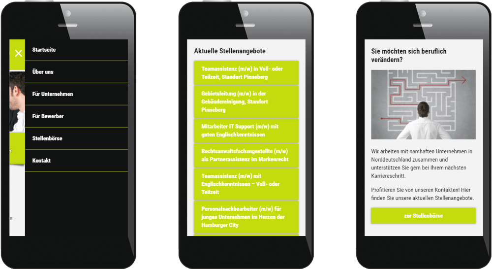 Mobile Website Personalvermittlung