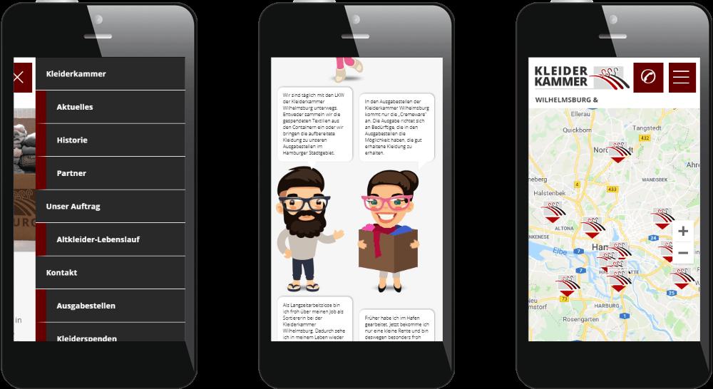 Website-Darstellung auf dem Smartphone mit Offscreen-Menü