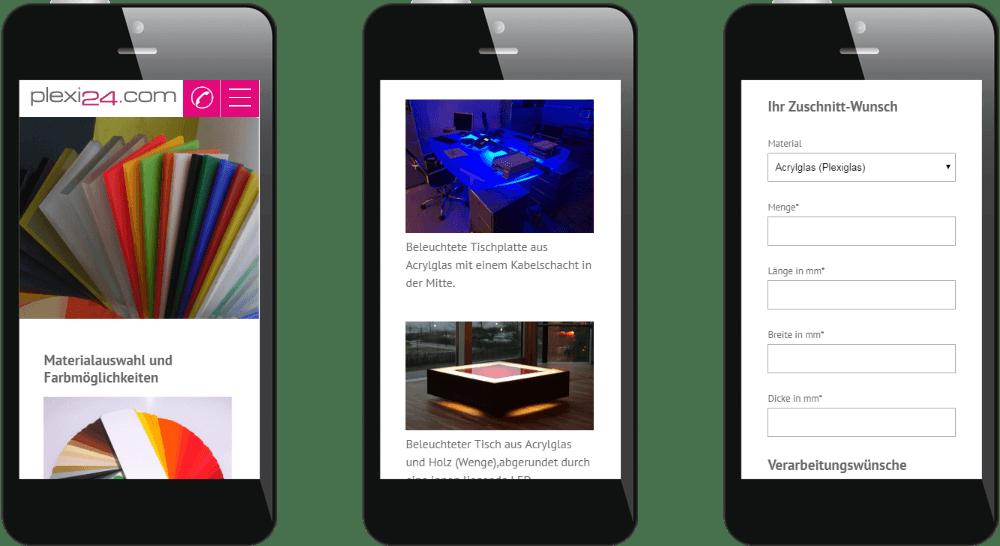 Mobiles Webdesign der Werbetechnik-Website