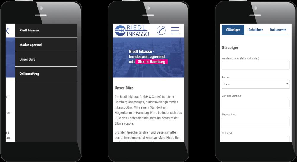 Mobil optimierte Website für Inkasso-Unternehmen