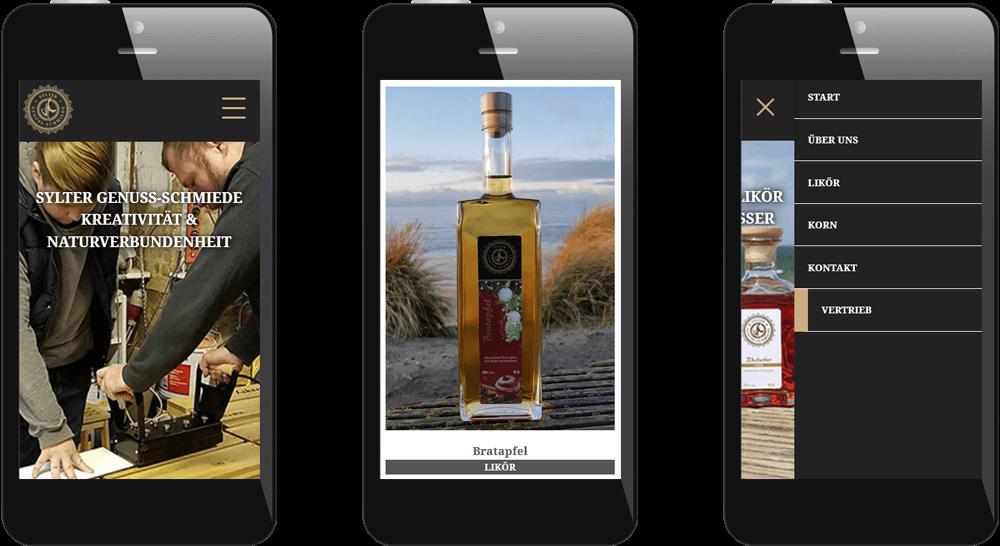 Mobil optimierte Website mit Produktpräsentation